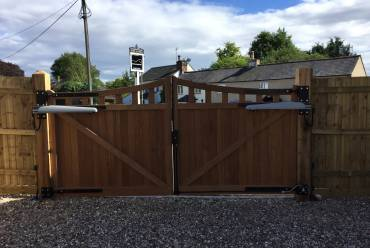 Rear of wooden electric gates