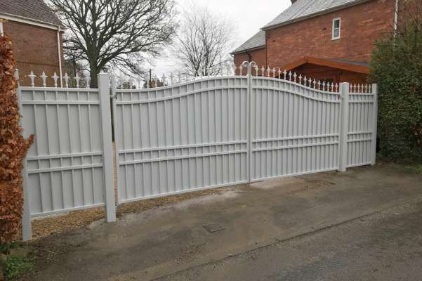 Steel gates with infill panels
