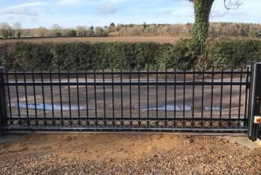 Driveway sliding metal electric gate