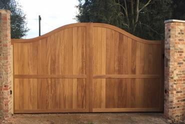 Wooden clad sliding gate